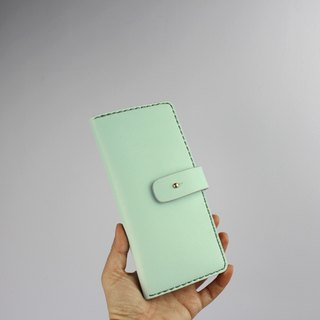 Zemoneni unisex leather purse Wallet in Mint Green color