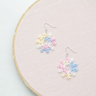 [Customized] hand-made snowflake earrings pastel yellow red blue Tatting Snowflake Earrings