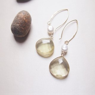 Free Shipping Worldwide : Dangle Lemon Quartz Earrings | 18K Yellow Gold Plated