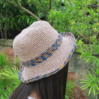A mother's hand made hat / Lafei straw hat - square fisherman hat / plain x flower line / jump color blue / design limited edition