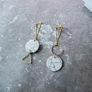 geometry. Brass white turquoise round long earrings ear sterling silver