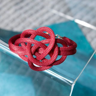Lussli | Knitted Bracelet - ROSE (Size S, Dark Red)