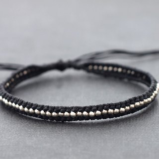 Men Unisex Black Beaded Adjustable Bracelets Woven Boho