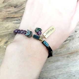 Hand string ◎ customized lettering black jade with * brass tag hand string