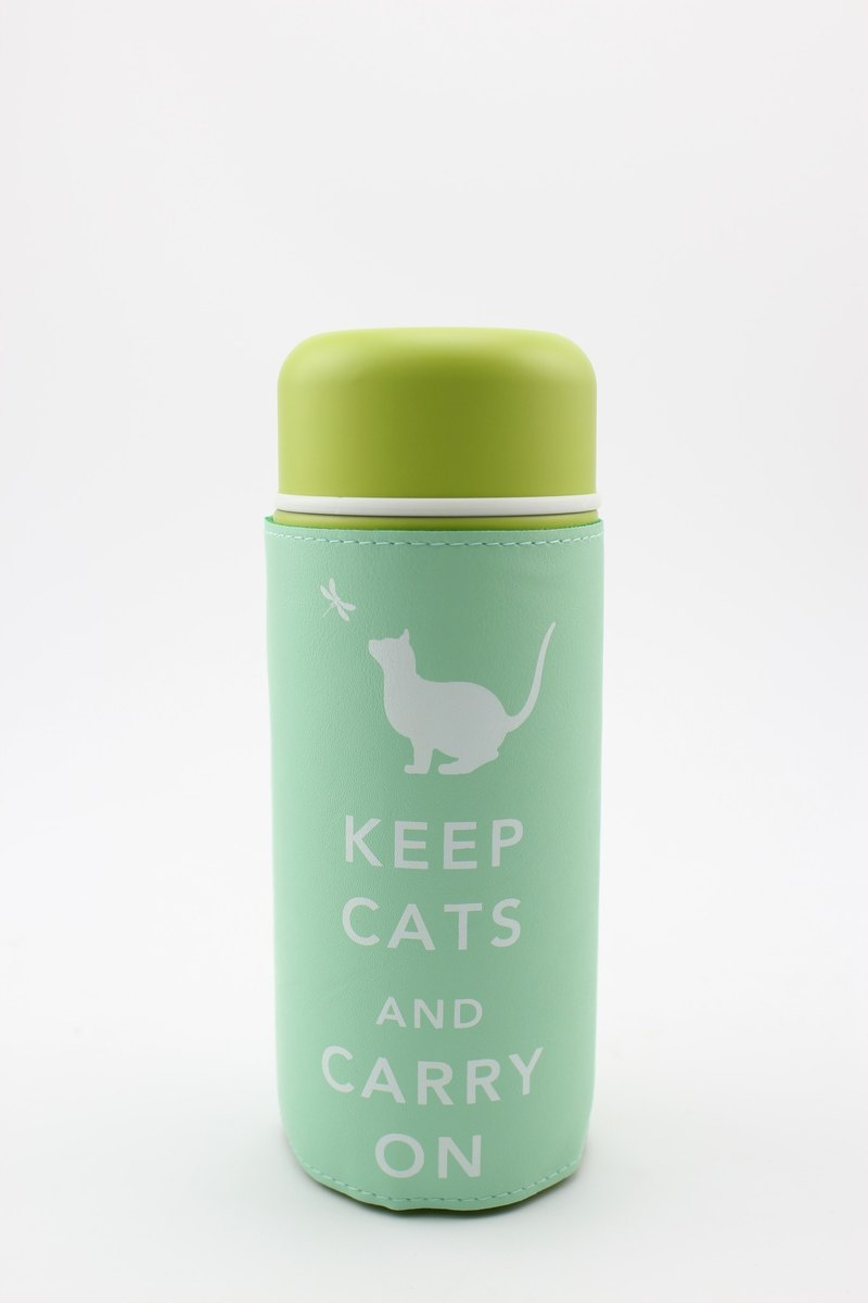 """""""Keep Cats & Carry On"""" 旅行保溫杯- 湖水綠"""