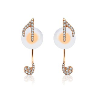 Eighth note Shape Diamond Earring