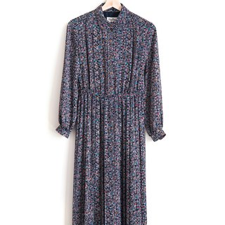 Vintage Deep Purple Multicolor Triangle Vintage Long Sleeve Dress