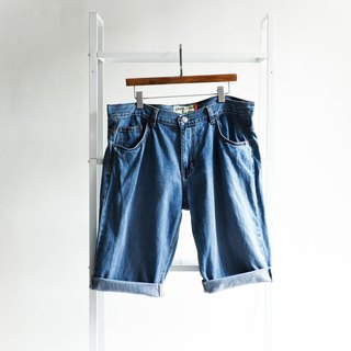 River water mountain - levis W40 Toyama color water blue classic plain large size cotton tannin antique shorts ancient leather denim pants vintage