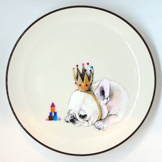 Wall-mounted decorative plate / snack plate series - melancholic little king