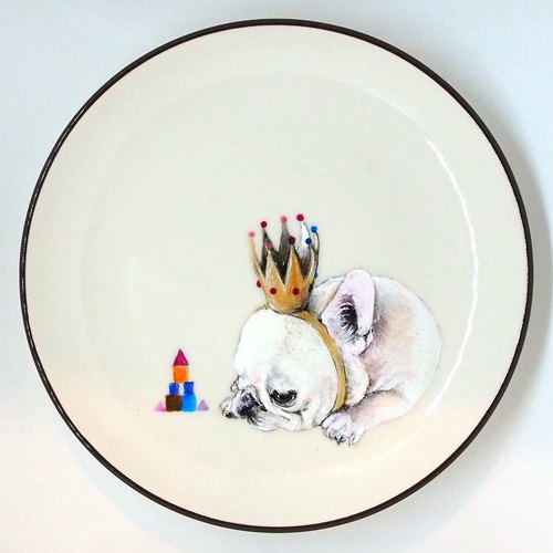 Wall hanging decorative plate / dessert plate series - melancholic little king