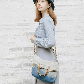 Linen and leather tote bag