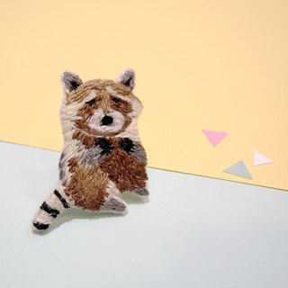 Forest Department embroidery raccoon brooch pin hand embroidery