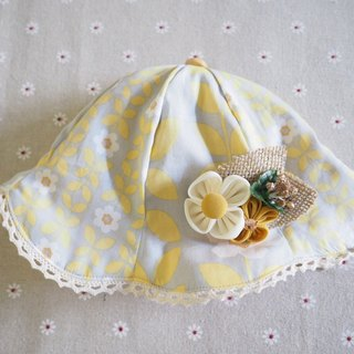 Handmade Hat, hair clip and headband set with yellow flower gift set