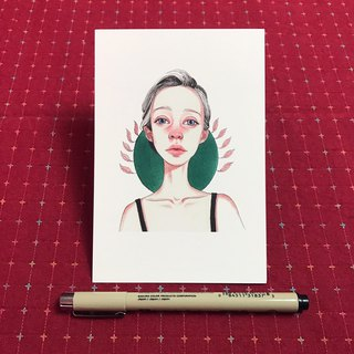 Postcard green round red nose girl