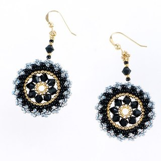 Swarovski crystal earrings black, 14kgf, chic circle dangle earrings, statement jewelry, 211-1