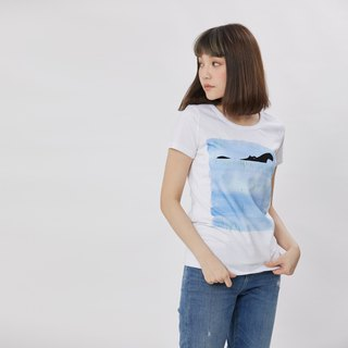 Hippo in color water peach cotton T-shirt Women /White