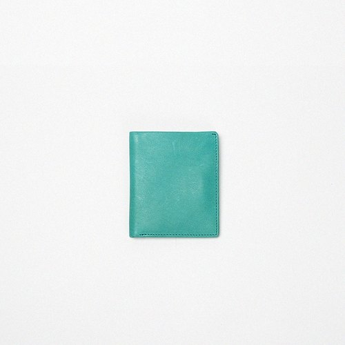 Pure hand-made imported Italian all-mast tanned leather vertical wallet with four colors into the lake blue • Bodhi said FOSTYLE