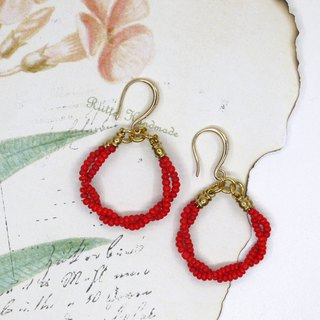 New Year red coral earrings ear clip