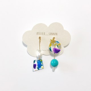 Sugar gemstone series - colorful shake ice hand made hand-painted draping handmade earrings ear pin / ear clip