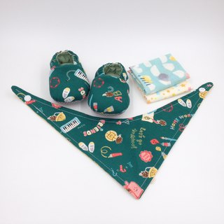 Blackboard Graffiti - Miyue Baby Gift Box (toddler shoes / baby shoes / baby shoes + 2 handkerchief + scarf)