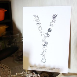 AZ English alphabet creative graffiti postcard <Y>
