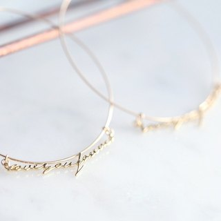 "[14KGF] Hoop Earrings, ""Love you forever"""