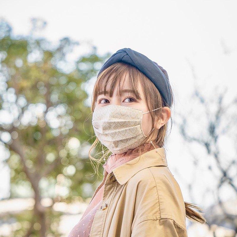 錦緞圖案 米色 手工立體口罩 可洗滌 日本製純棉二重紗布 成人