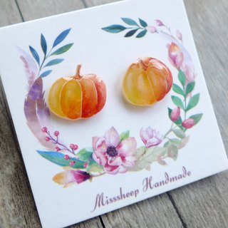 Misssheep-U56 Watercolor hand-drawn asymmetrical pumpkin (ear pin / transparent ear clip)