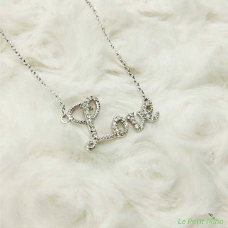 Love Clavicle Necklace 925 Silver Platinum-Clad Cursive Bling Pendant