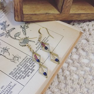 Moko_k. Brass earrings Shuangling blue purple