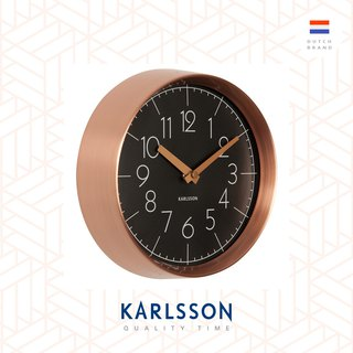 Karlsson, Wall clock Convex glass, copper case 銅框凸玻璃掛鐘(黑)