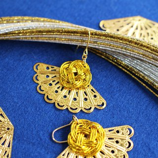 japanese style pierce earring / mizuhiki / japan / accessory / gold / fan