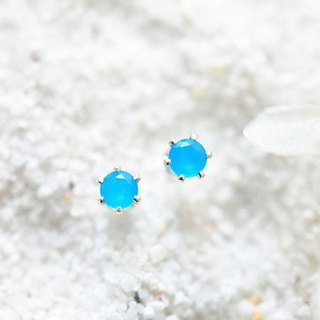 Health, longevity, wealth, success Neon Blue Agate Stud Earrings 4mm May Birthstone