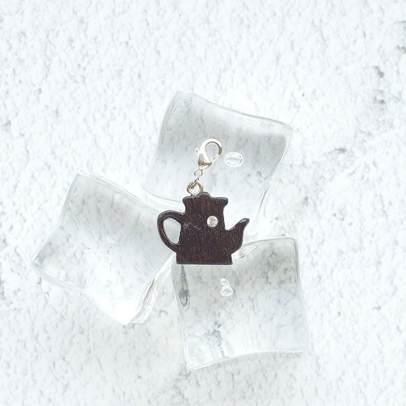 Coffee Pot  wooden charm (can choose gold / silver plated Lobster clasp)