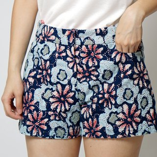 MIT Classic Hot Blue Powder Flower Lace Shorts