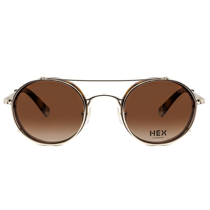 Optical glasses with front hanging sunglasses | sunglasses | brown 玳瑁 round frame | Italy system | metal plastic frame
