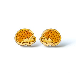 Painted wood earrings-Hedgehog (yellow)
