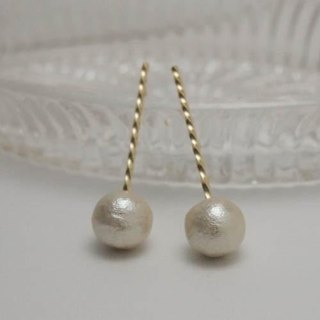 twist cotton pearl earrings [FP216]