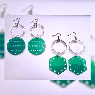 💿 dark green geometric acrylic earrings 💿