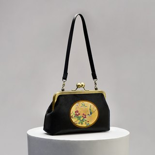 CoinQian black flower and bird retro velvet mouth gold package