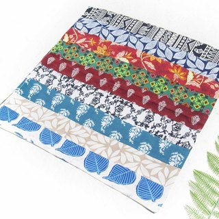 Handmade square towel patchwork square towel square scarf India woodcut printed square scarf - walking natural plant forest