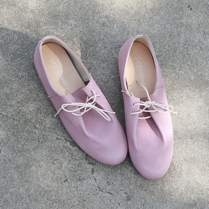 [In stock] Sheepskin lace-up casual shoes / pink / handmade / MIT / T2-20407L