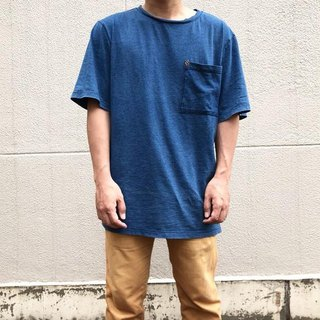[Parent-child Corde] Big silhouette T shirt of indigo sheeting [Free size]