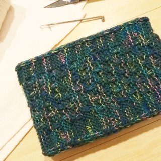 Lan hand-made knit headband (flower yarn dark green)
