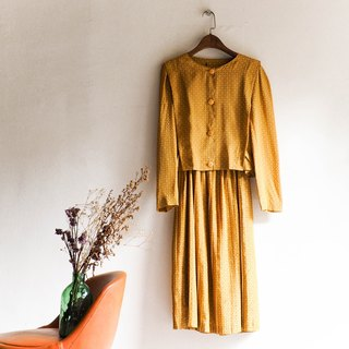 River water - Saga introverted mustard yellow elegant temperament hand antique dress silk dress overalls oversize vintage dress