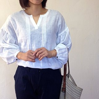Linen Pin tuck puff sleeve blouse thin linen pin tuck puff sleeve long sleeve blouse