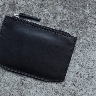 Basic zipper purse / wallet handmade hand-stitched yak leather