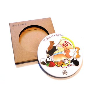 Animal Ceramic Water Cup Coaster ~ Dessert Series ~ Crepe Animals