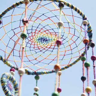 Hand-woven cotton and linen rainbow dream catcher Boho wool line feather dream catcher - gradient step