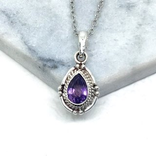 Amethyst Elegant Design Necklace in Sterling Silver Made in Nepal (Water Drop Amethyst)